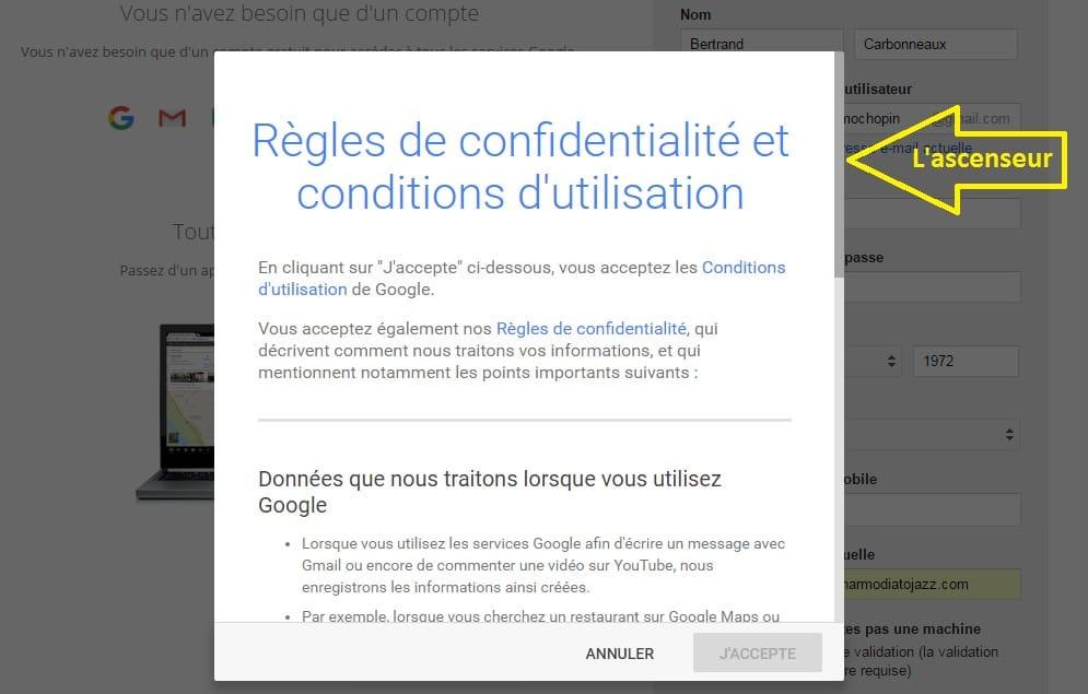 Les Règles de confidentialité et conditions d'utilisation de Google