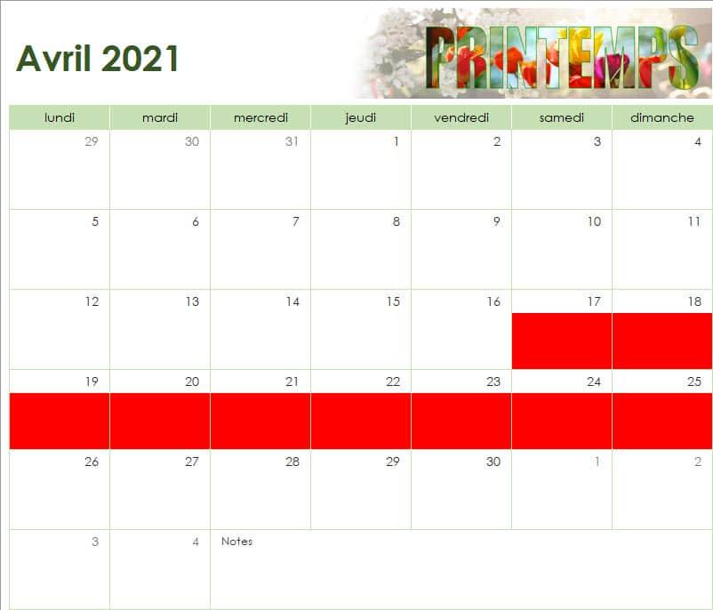 calendrier des vacances scolaires de l'Ecole Internationale d'Harmonica - avril 2021