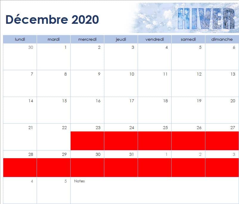 calendrier des vacances scolaires de l'Ecole Internationale d'Harmonica - décembre 2020