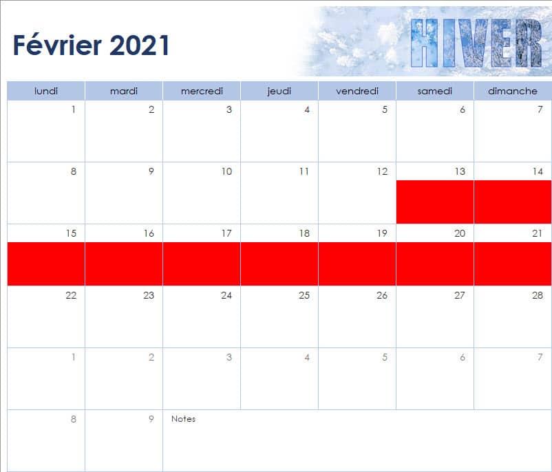 calendrier des vacances scolaires de l'Ecole Internationale d'Harmonica - février 2021