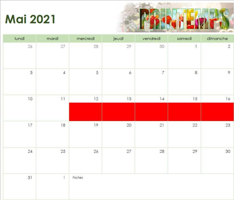 calendrier des vacances scolaires de l'Ecole Internationale d'Harmonica - mai 2021