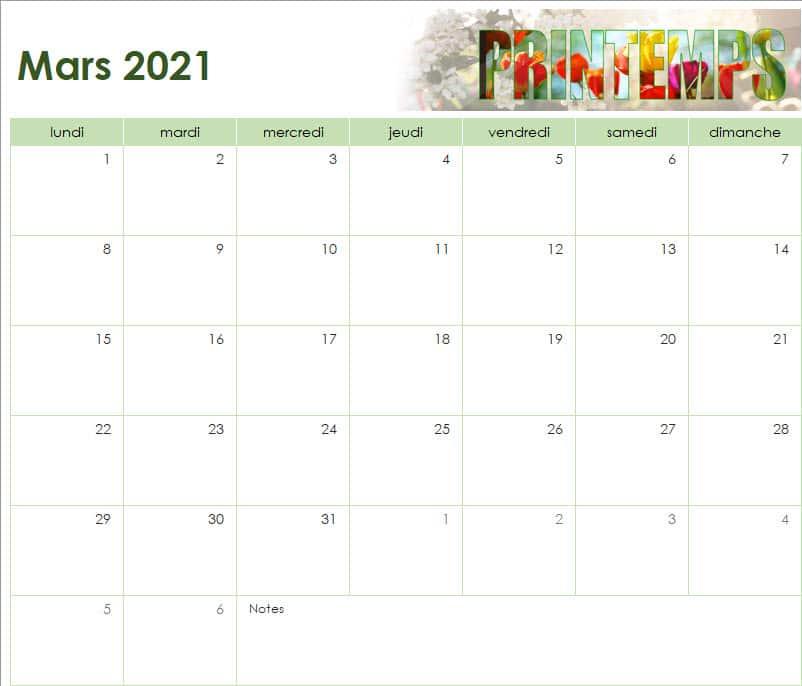 calendrier des vacances scolaires de l'Ecole Internationale d'Harmonica - mars 2021