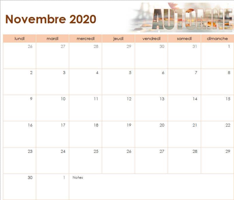 calendrier des vacances scolaires de l'Ecole Internationale d'Harmonica - novembre 2020